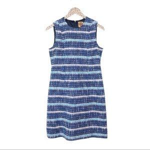 Tory Burch Petra Blue Tweed Sheath Dress